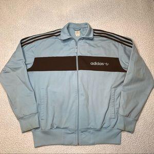 Adidas Zip Up Track Jacket Blue Brown Trefoil Logo